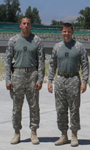 Jimmy Blackmon & Adam Stead before a mission in Afghanistan